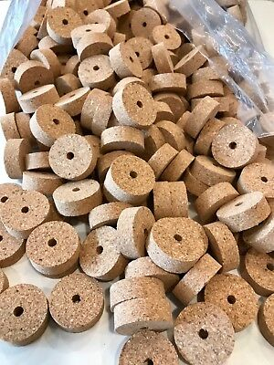 "Cork Rings 4  Natural Superior Burl 1 1//4/"" X 1//2/"" X 1//4/"" Hole"