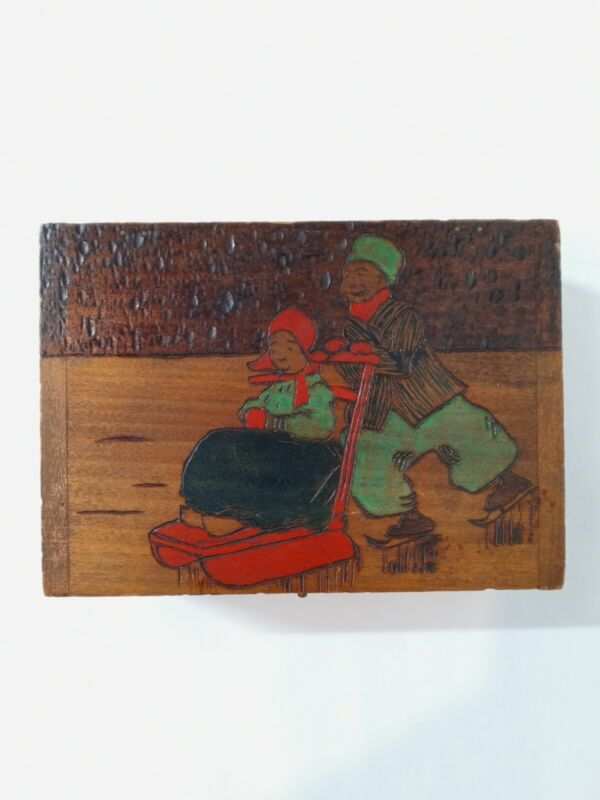 Vintage Wood Trinket Box Pill Box Jewelry Box Hand Carved And Dyed Winter scene