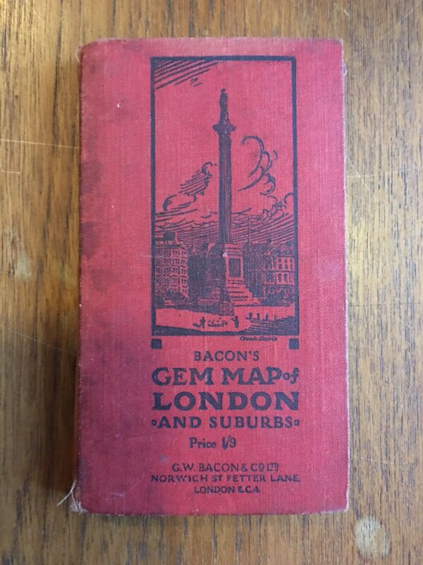 Antique Bacon's Gem Map of London and Suburbs Small Linen Book Large Map