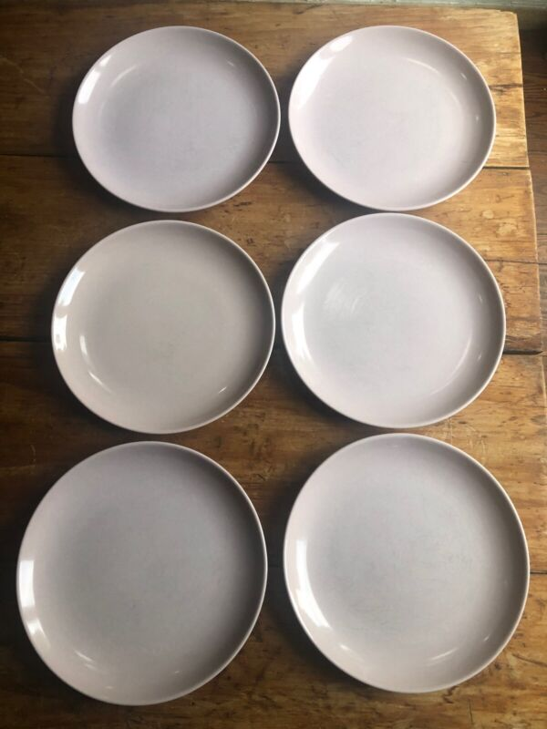 6 Russel Wright Pink Iroquois Dinner Plates Mid-Century Modernist