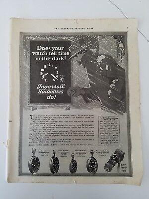 1920 Ingersoll radio radiolite mens pocketwatch pocket wrist watch ad