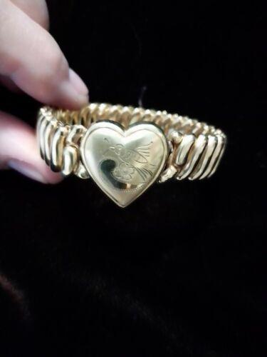 Vtg signed Lady Launton expandable sweetheart bracelet Bigney 46 Bird and flower