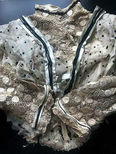 Antique Lace Silk Ribbon Button Trim Blouse Fabric for study / doll clothing