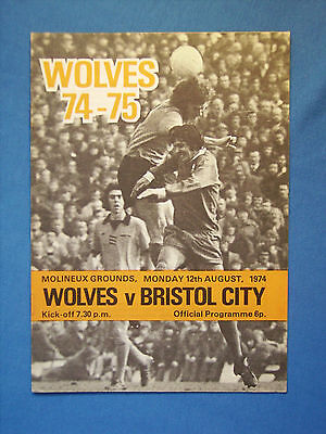 Wolves v Bristol City, Friendly  12th August 1974