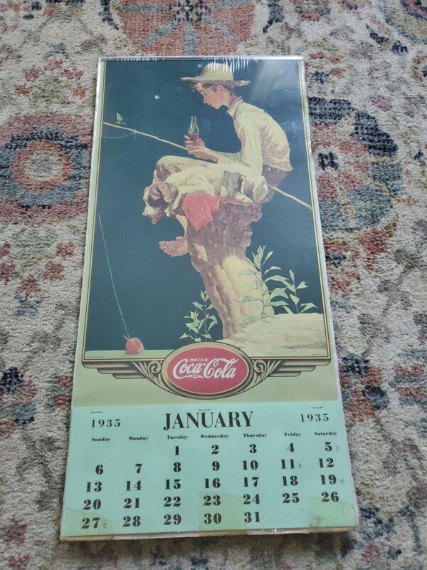 Original Complete 1935 Coca Cola Boy Fishing Calendar Normal Rockwell Brand New