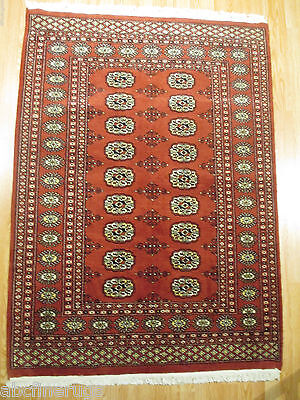 4x6 Bokhara FINE Geometric Allover-pattern Handmade-knotted Wool Rug 580611