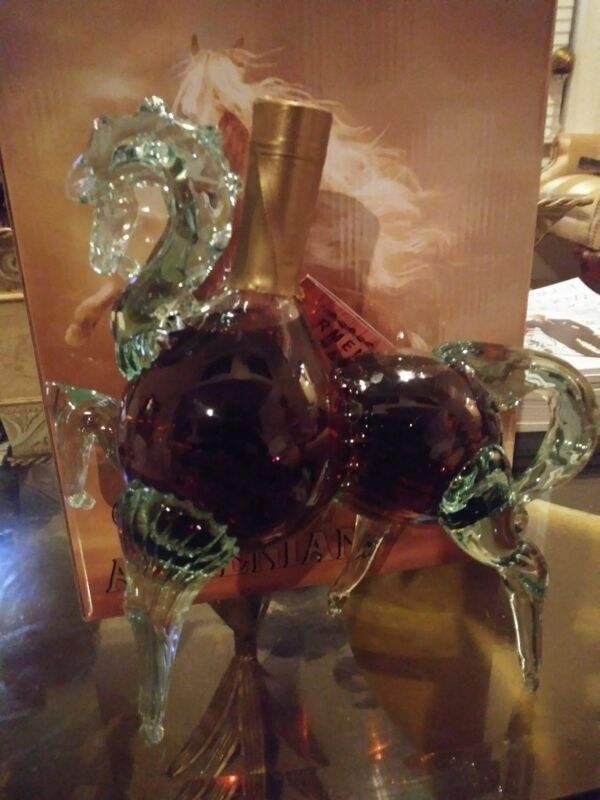 Rare Find Armenian Brandy Collectible Hand Made Glass Horse Decanter Christmas