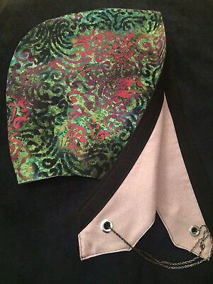 REVERSIBLE FESTIVAL HOOD.Green with Red/Blk Abstract Pattern.Shielding.Grounding