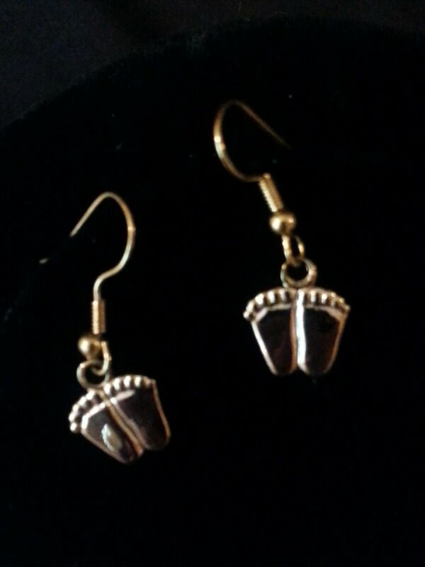ProLife Support PRECIOUS FEET DANGLE EARRINGS Gold Tone