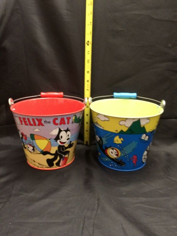LOT OF TWO COLLECTIBLE FELIX THE CAT SAND BEACH PAIL BUCKET