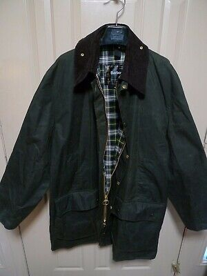 BARBOUR- A200 BORDER WAXED COTTON JACKET-  SAGE- MADE IN ENGLAND- SIZE 48