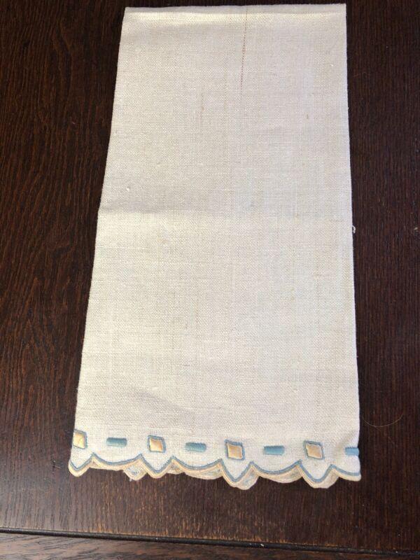 Antique Madeira Spain Linen Guest Towel  Embroidered Hemstitched Ecru Beige Blue