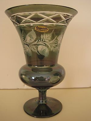 """Green Clear Bohemian Style Hand Cut Footed Vase Flowers Floral Design 7"""" German?"""