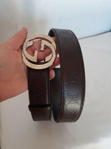 Ceinture gucci monogrammé gg en cuir pour homme gucci leather men's belt