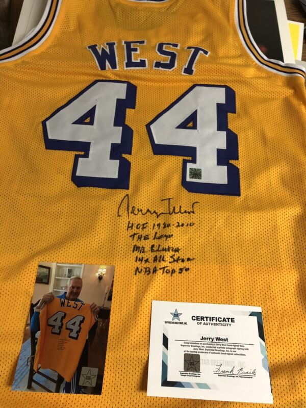 Autographed Jerry West Lakers Jersey 5 Stats SSG Certified Signed A Few Left