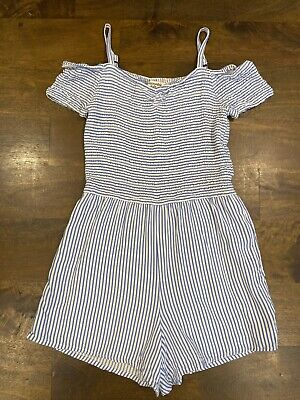 Girls Abercrombie Kids Blue Striped Shorts Romper Size 9/10 EUC