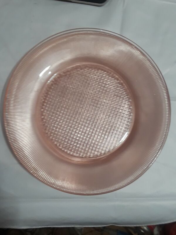 """PERFECT Vintage Pink Jeanette """"HOMESPUN/FINE RIB"""" Dinner Plate Lot of 4"""