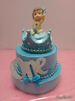 PRINCE CROWN 1ST FIRST BIRTHDAY CAKE TOPPER TABLE DECORATION  (Prince Crown Cake Topper)