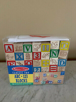 Melissa & Doug 50 Wood ABC and 123 Blocks with Pouch-New