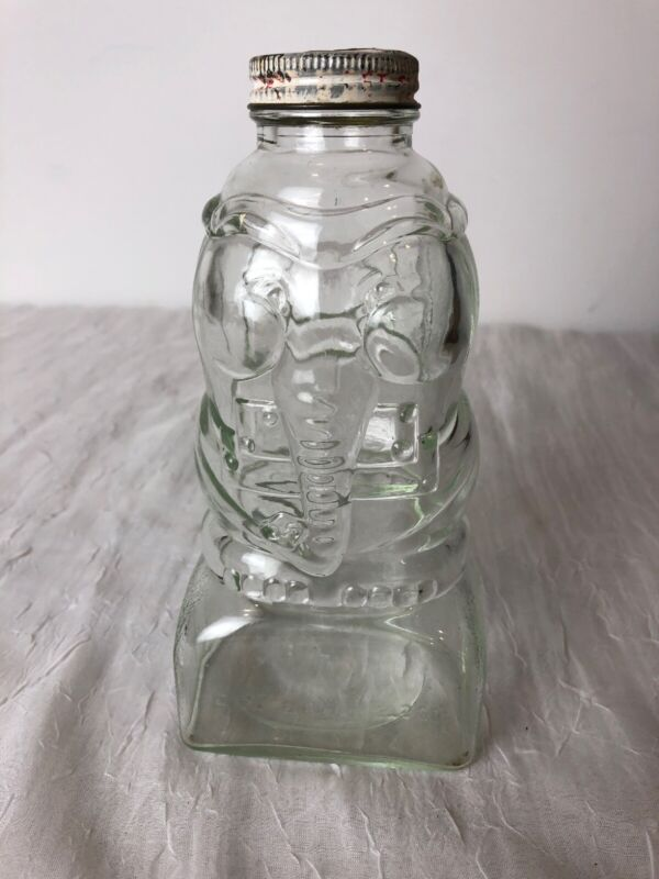 "Vintage 7"" Elephant Bank Clear Glass Jar Castle Products Co Newark NJ USA"