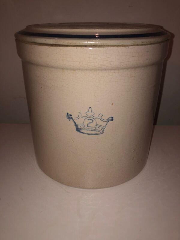 Vintage Robinson 2 Gallon Stone Crock with Lid