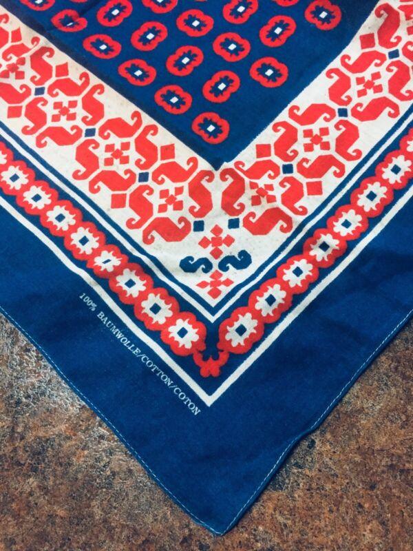 Vintage Blue Red And White Patterned Bandana 100% Cotton Hankie Western Biker