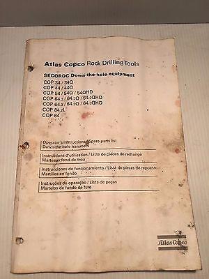 Atlas Copco Rock Drill Cop34-84 Operators Instruction And Parts Book