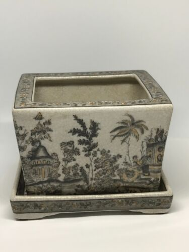 United Wilson JUWC 1897 Porcelain Flower Plant Pot & Tray plate Grey Tan
