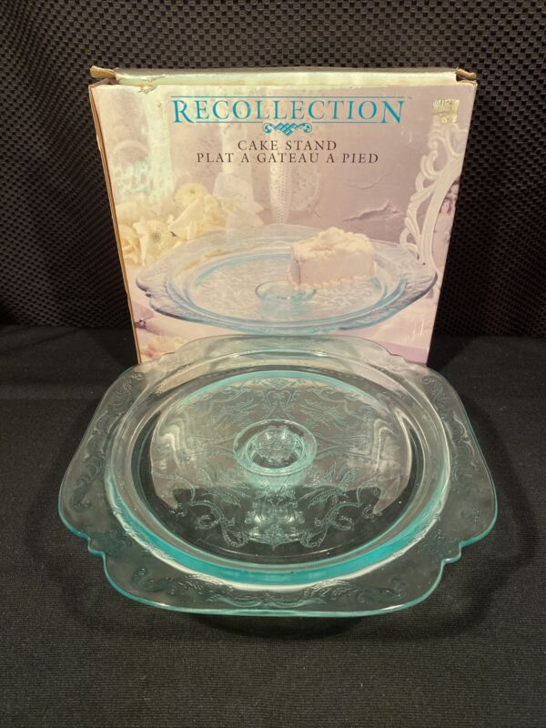 Vintage Indiana Glass Recollection Madrid TEAL Glassware Cake Stand 3017 NEW