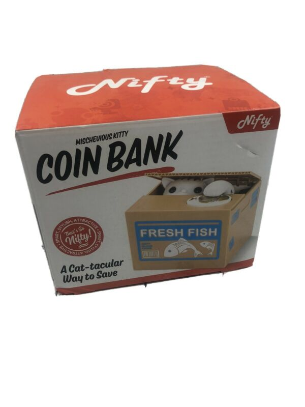 New! Nifty Mischevious Kitty Coin Bank