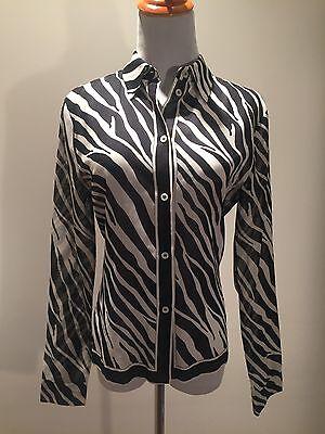 Michael Kors Black And White Zebra Cotton Shirt Top Blouse! 8
