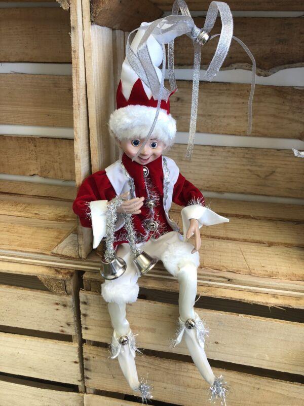 "Elf Raz Imports Elf Poseable Shelf Sitter Red White Silver Bells 16"" New"