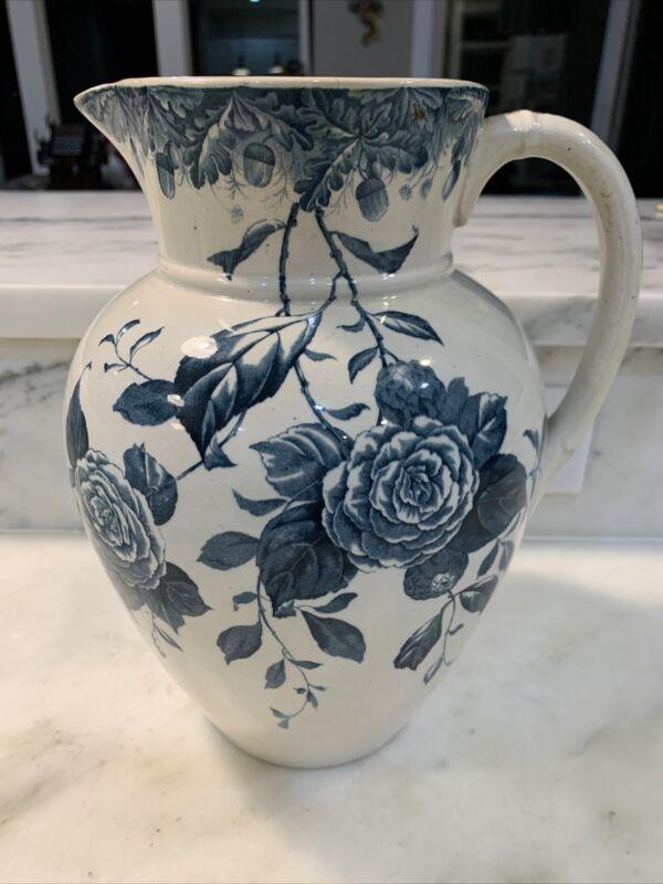 "Antique Burgess & Leigh Burslem England Blue Floral Pitcher Pattern-Blossom 11"""