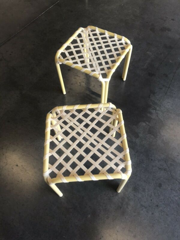 Vintage Brown Jordan Pair of Small Stacking Strapy Tables