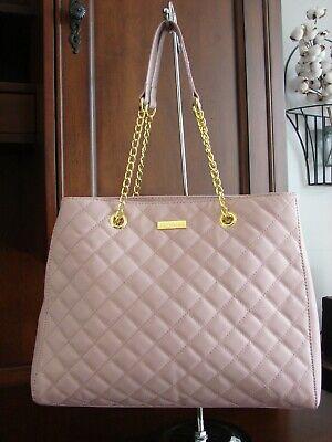 Joy & Iman Blush Pink Quilted Double Gold Chain Shoulder Strap Bag Handbag Purse