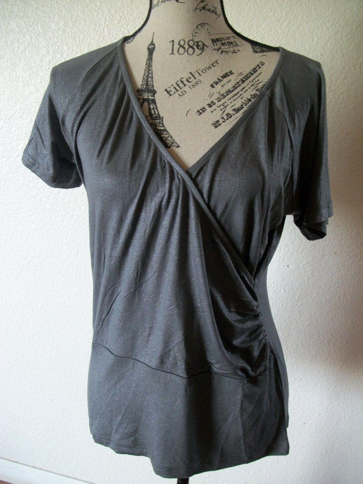 women s blouse grey color short sleeve
