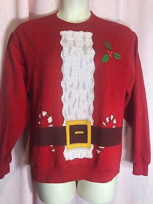 Jerzees M Santa Suit Holiday Christmas Blouse Top Sweat Shirt Ugly Sweater SA45, used for sale  Longwood