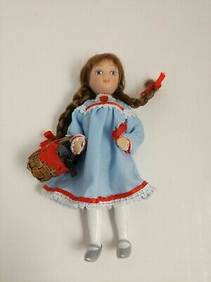 Miniature dollhouse Dorothy Wizard of Oz Porcelain Doll Toto Girl Dog in Basket - Wizard Of Oz Toto Dog In Basket