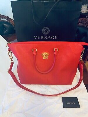 Versace Red Saffiano Leather Bag- 100% Genuine