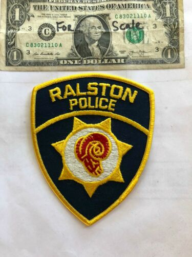 Rare Ralston Nebraska Police Patch Un-sewn in great shape