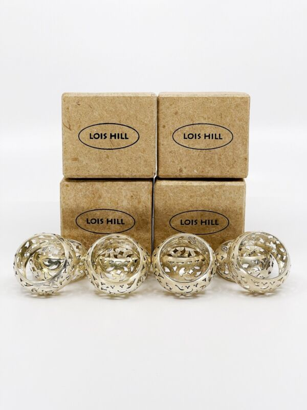 Lois Hill Sterling Silver Napkin Rings Set of 8