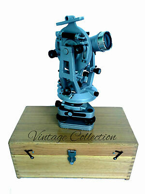 Transit Theodolite Scientific Surveying Aluminium Vernier Alidade W Wood Box