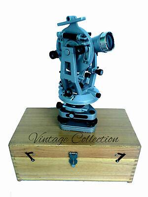 Transit Theodolite Scientific Surveying Aluminium Vernier Alidade W Wood Box