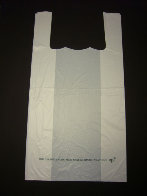 "Large White 100% BioDegradable Carrier Bag 12"" x 18"" Pack 100"