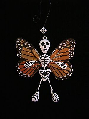 Skeleton Monarch Butterfly Ornament Day of the Dead Mexican Folk Art Signed