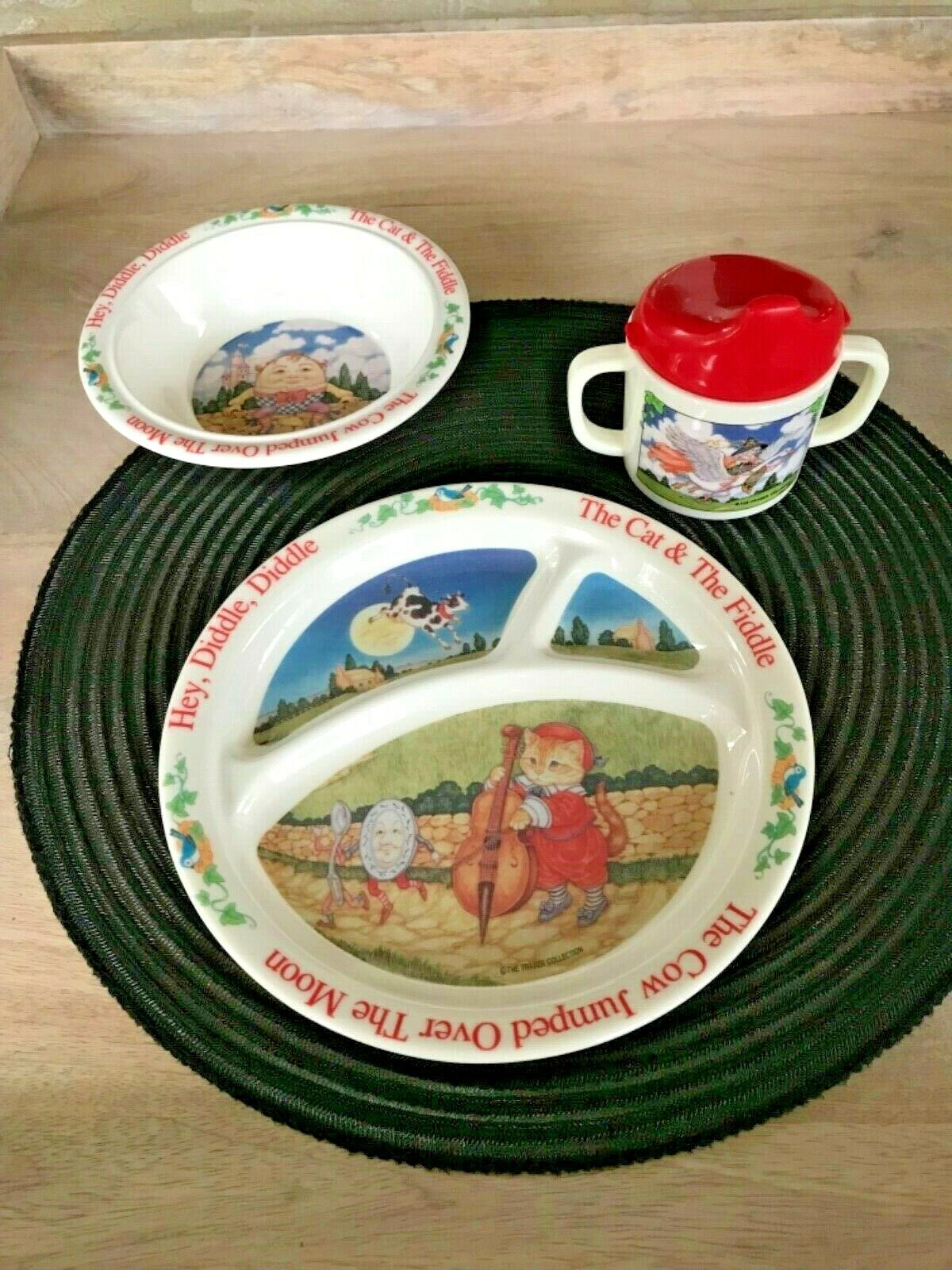 Selandia Melamine Childs Nursery Rhymes - Divided Plate, Bowl Cup Set NEW - $24.95