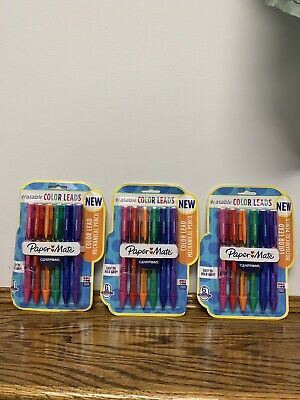 Paper Mate Mechanical Pencil Colored Lead 6 Per Pack Clear Point Erasable 3 Pks