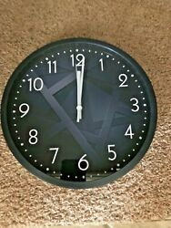 Vicmari - Black Glass Wall Clock -12 - Silent Non-ticking- Quartz Battery - NIB