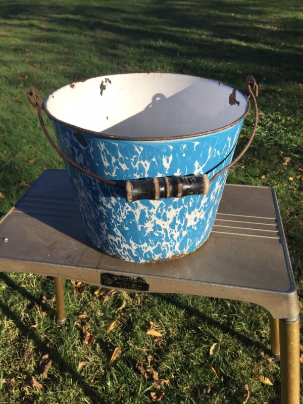 Large Early Blue & White Swirl Granite Ware Bucket Superb Color Enamelware