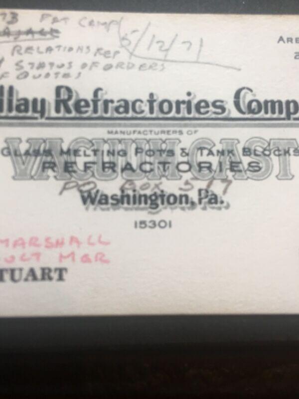 Findlay Refractories Co. Washington PA Vtg Business Card CE Stuart